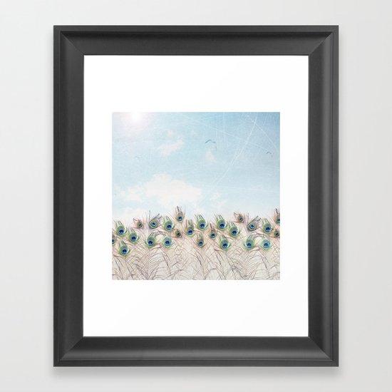 Fly Over A Peacock Field Framed Art Print