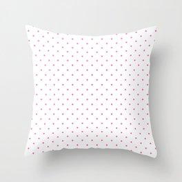 Medium Light Hot Pink on White Polka Dots Throw Pillow