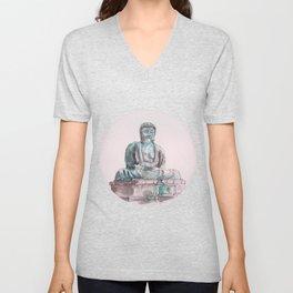 Peace and Harmony watercolor buddha pastel illustration Unisex V-Neck