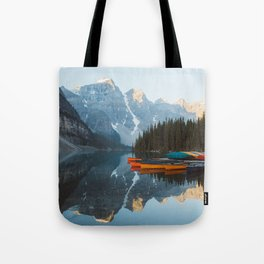 Moraine Lake Canoes Tote Bag