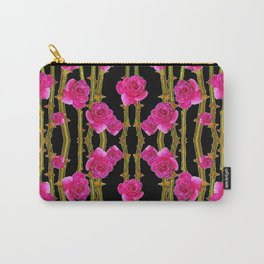 """FUCHSIA PINK """"ROSES & THORNS""""  BLACK ART PATTERNS Carry-All Pouch"""
