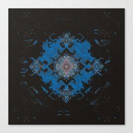 Blue Diamond Techno-Wisp Mandala Canvas Print