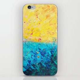 THE DIVIDE - Stunning Bold Colors, Ocean Waves Sun, Modern Beach Chic Theme Abstract Painting iPhone Skin