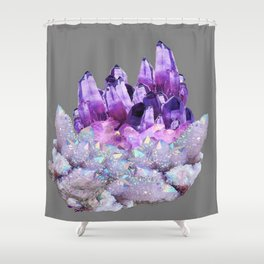 SPARKLY WHITE QUARTZ & PURPLE AMETHYST CRYSTAL Shower Curtain