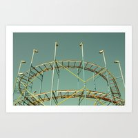 coasters Art Prints featuring rollercoaster by Bianca Green