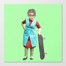 Skateboarding Granny! Quirky Skateboard Design! Canvas Print