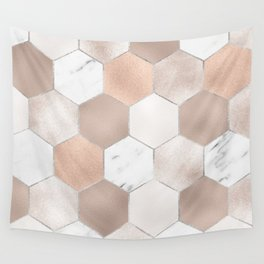 Rose pearl and marble hexagons Wall Tapestry