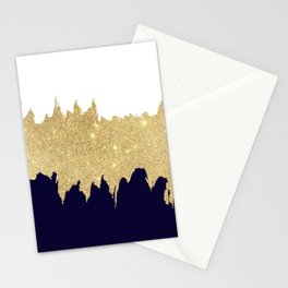 Modern navy blue white faux gold glitter brushstrokes Stationery Cards