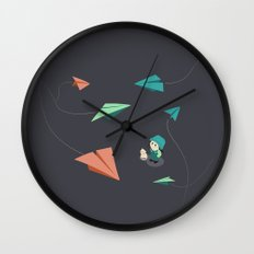 Girl Watching Paper Planes Wall Clock