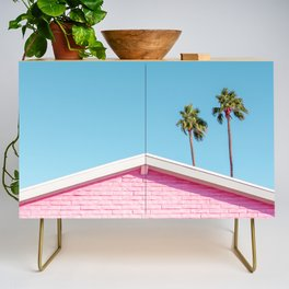 Pink House Roofline with Palm Trees (Palm Springs) Credenza