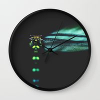 dragonfly Wall Clocks featuring dragonfly by Ingrid Beddoes