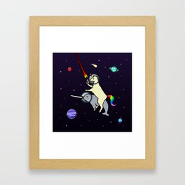 Llamacorn Riding Narwhal In Space Framed Art Print