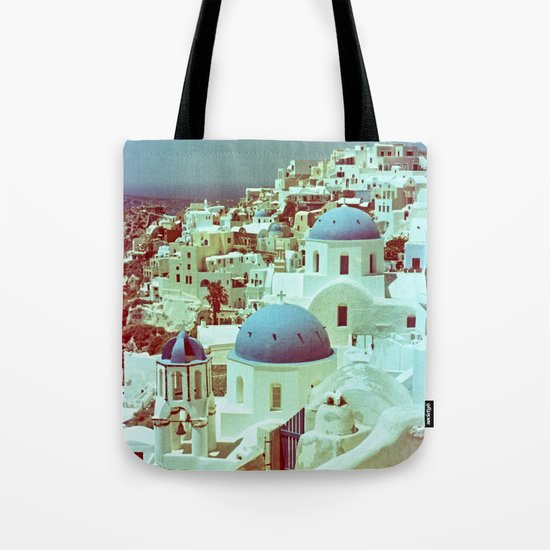 Santorini in Raspberry and Blue: shot using Revolog 600nm special effects film Tote Bag