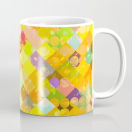 geometric square pixel and circle pattern abstract in yellow orange red blue Coffee Mug