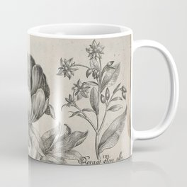 Antique floral black and white chinoiserie flower vintage Paris flowers French botanical goth print Coffee Mug