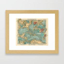 Vintage Map of The Caribbean (1906) Framed Art Print