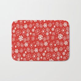 Snowflake Snowstorm With Poppy Red Background Bath Mat