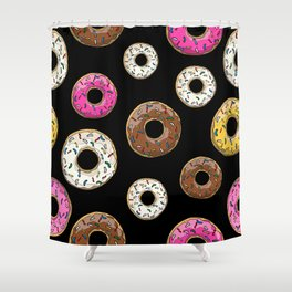 Funfetti Donuts - Black Shower Curtain