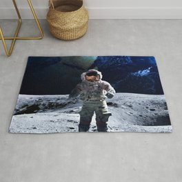 Funny Astronaut on the Moon Rug
