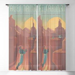 Vintage Adventure Travel Olympus Mons Awaits Sheer Curtain
