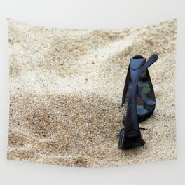 Sunglasses in the beach sand. Wall Tapestry