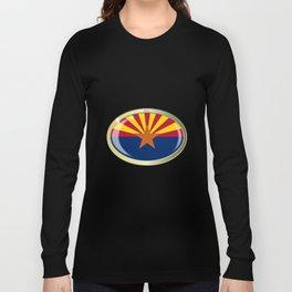 Arizona State Flag Oval Button Long Sleeve T-shirt