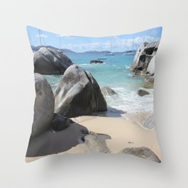 Scenic Beach at The Baths on Virgin Gorda, BVI Throw Pillow