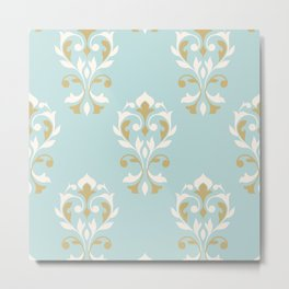 Heart Damask Ptn Gold Cream Blue Metal Print