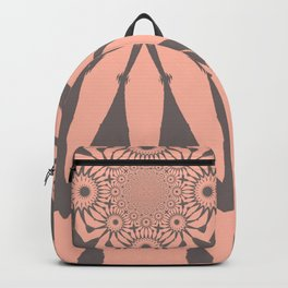 Modern Flower Peach and Gray Backpack