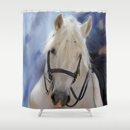 Painted White Horse head Shower Curtain