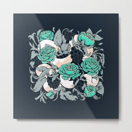 Berries and Snake Florals Metal Print