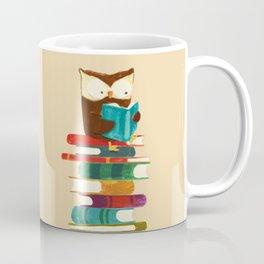 Owl Reading Rainbow Coffee Mug