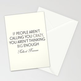 Richard Branson quote, think big, take risks, inspiring, motivational sentence Stationery Cards