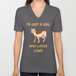 I'm Just a Girl Who Loves Cows Unisex V-Neck