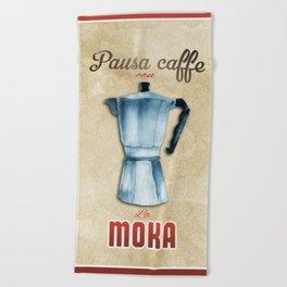 Cafe Poster: Coffee Break with Moka Beach Towel