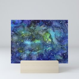 Space Galaxy Blue Green Watercolor Nebula Painting Mini Art Print