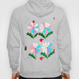 Many Colored Daisies with Ladybugs and Dragonflies Hoody