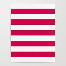 Spanish carmine - solid color - white stripes pattern Poster