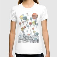 hot pink T-shirts featuring Voyages over Edinburgh by David Fleck