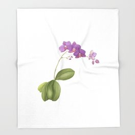 Flowering purple phalaenopsis orchid Throw Blanket
