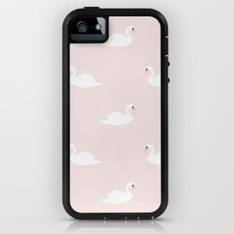 Swan pattern on pink 033 iPhone Case