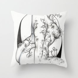 Wildflower Torso with Black Crescent Moon Throw Pillow
