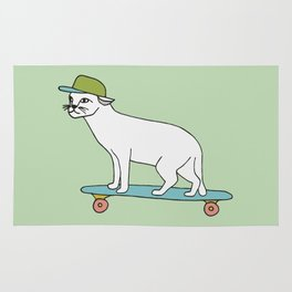 Cat on a skateboard Rug