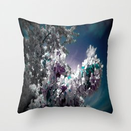 Flowers Purple & Teal Throw Pillow
