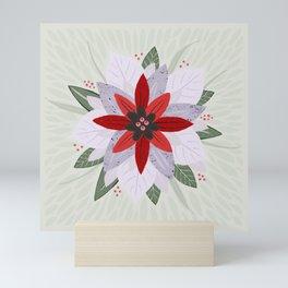Winter Poinsettia | Red, Green, White Mini Art Print
