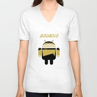 android V-neck T-shirts featuring Android by dextifire
