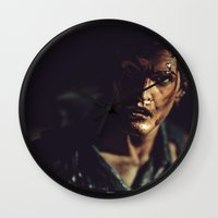 evil dead Wall Clocks featuring Evil Dead 2 - Ash by Sharon Wright