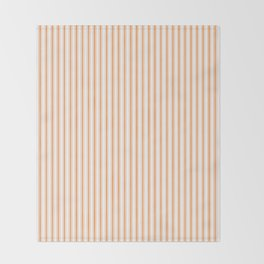 Bright Orange Russet Mattress Ticking Narrow Striped Pattern - Fall Fashion 2018 Throw Blanket