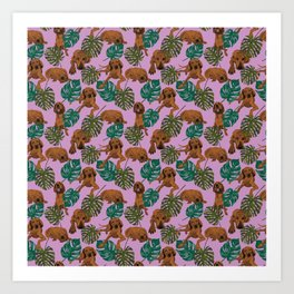 Tropical Redbone Coonhounds 2 Art Print