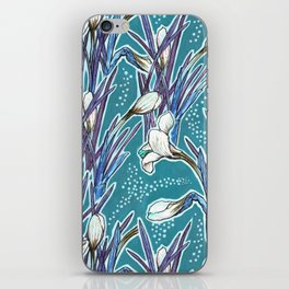 Crocuses, floral pattern in turquoise, blue and white iPhone Skin